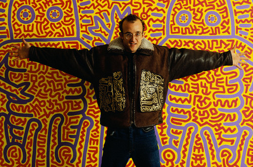 Keith Haring in Brown Coat with His Designs in Gold